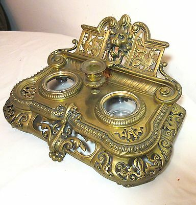 large antique 1800's Victorian gilt bronze figural desk inkwell stand set brass