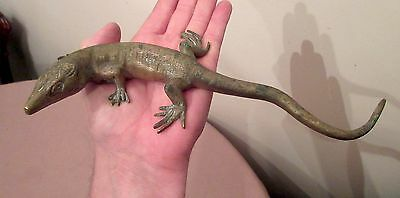 large antique gilded solid bronze lizard figural desk paperweight statue brass