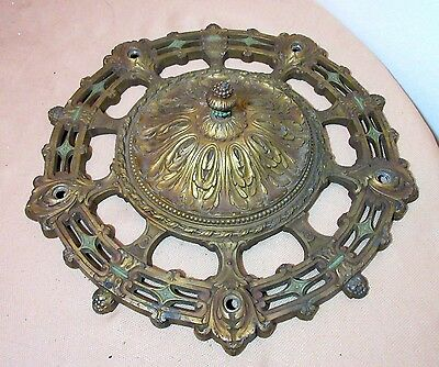 large antique 1800's ornate cold painted bronze zinc ceiling medallion canopy .