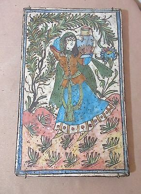LARGE antique 18th century handmade Persian pottery figural lady tile painting