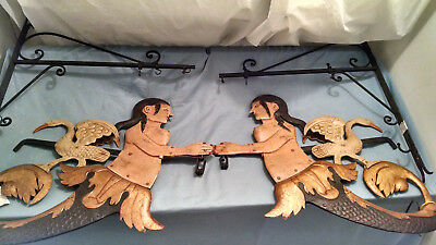 PAIR (2) MERMAID Metal Sign Hanging Brackets for Signs; Pub/Nautical/Storefront