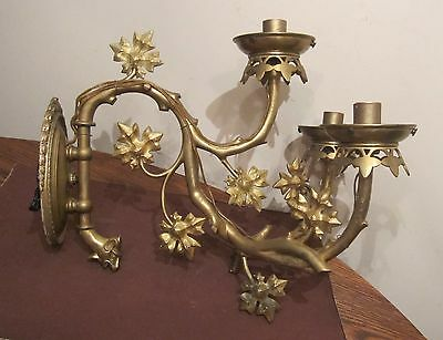 large antique solid heavy gilded bronze brass tree electric wall fixture sconce
