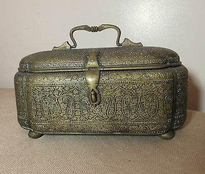 MUSEUM QUALITY ANTIQUE PERSIAN QAJAR ISLAMIC HAND CHASED BRASS CASKET BOX 1800's