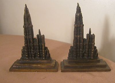 pair 2 antique solid brass ornate religious Amtwerp cathedral English book ends