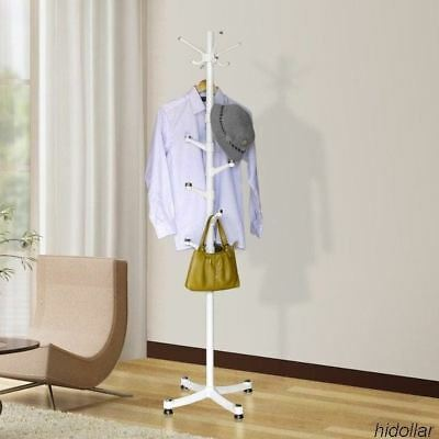 Personalized Coat Stand Hat Scarf Bag Rack Hook 14 Holders Free Standing White