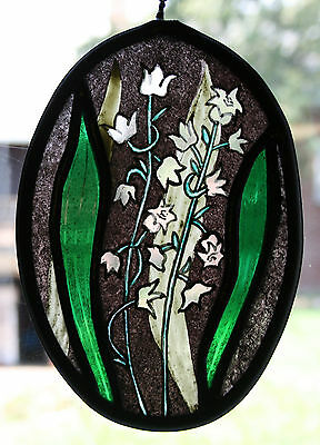 Stained Glass,Hand Painted,Kiln Fired, Lily of the Valley Panel, #1103 A