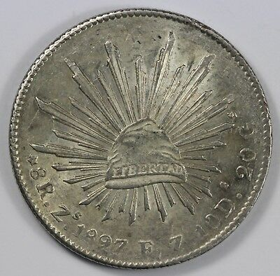 Mexico 1897 Zs FZ Silver 8 Reales, Lustrous Uncirculated