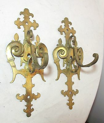pair of 2 antique thick brass ornate modernist wall coat hook hanger rack sconce