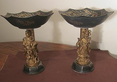 pair of antique Japanese hand painted gold figural porcelain compote dish bowl