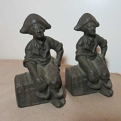 pair antique pirate treasure chest solid cast iron Hubley bookends bronze