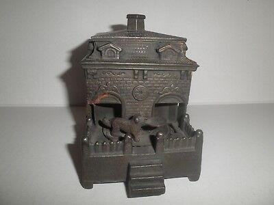 Old original cast iron Dog on Turntable mechanical penny bank by Judd c.1895