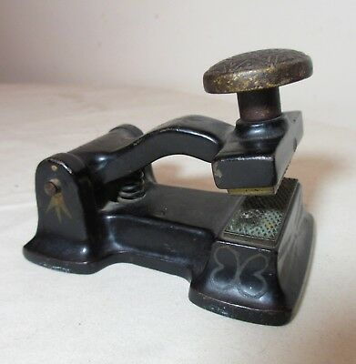 rare antique cast iron eastlake brass fraud check protector seal embosser press