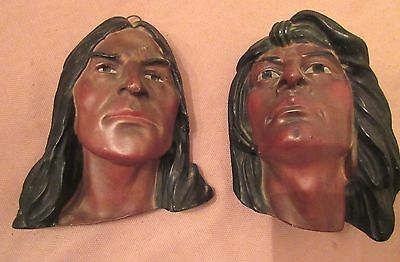 rare pair antique American Chief cigar display plaster ceramic wall bust statue