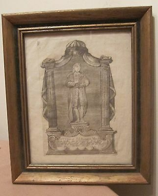 rare original antique 1798 black white religious saint French etching print