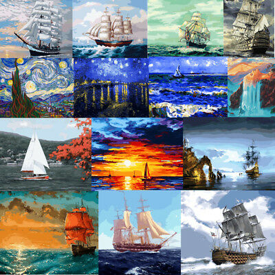 40x50 cm DIY Paint By Number Kit On Canvas Oil Painting Wall Decor Ship Scenery