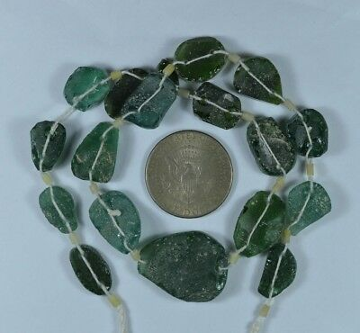 Ancient Roman Glass Beads 1 Medium Strand Aqua And Green 100 -200 Bc 803