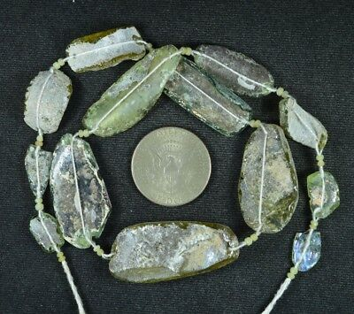 Ancient Roman Glass Beads 1 Medium Strand Aqua And Green 100 -200 Bc 799