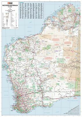 Western Australia Hema 700 x 1000mm State Laminated Wall Map with Hang Rails