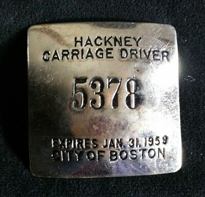 "Vintage 1950s Boston Taxi Hackney Carriage Driver Badge 2.25"" Sq. Expired 1959"