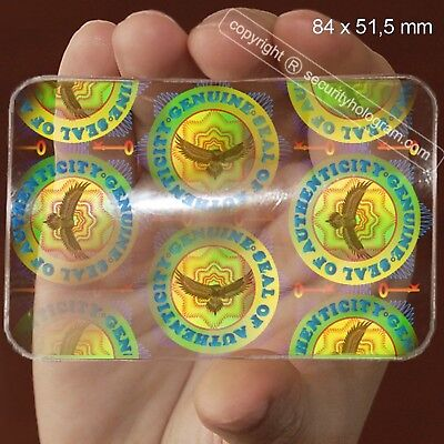 6 ID Cards Security Hologram Horizontal or Vertical Overlay Stickers with Mic...
