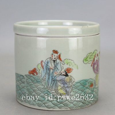 Chinese old porcelain famille rose the Eight Immortals pattern Cricket cans ZZ