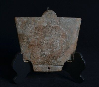 Chinese LiangZhu Style Carved Symbols God Face Sacrificial Big Jade Axe-JR12702