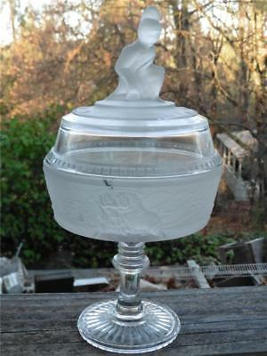 Vintage Westward Ho Round Footed Covered Compote Dish Gillinder & Sons Wright