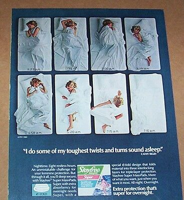 1983 print ad - Stayfree maxi-pads Gymnast CATHY RIGBY vintage Advertising Page