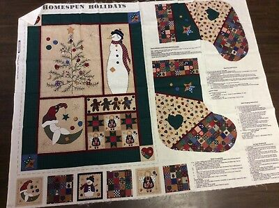 Fabric   Christmas  Panel   Stocking, Ornaments &  Wall Hanging