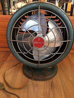 Vintage Large Round Green Metal Coronado Table Fan -- Works