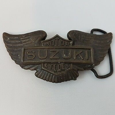 New Old Stock NOS Vintage 1970s Suzuki Motorcycle Wings Belt Buckle