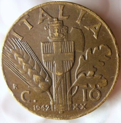 1942 ITALY 10 CENTESIMI - Excellent Fascist WW2 Coin - FREE SHIP - Italy Bin #E