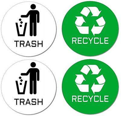 Recycle & Trash Stickers 2 Trash + 2 Recycle, Premium Quality for Use on Trash &