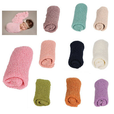 2 Pcs Infant Baby Photo Props Stretch Wrap Long Ripple Cotton Blanket