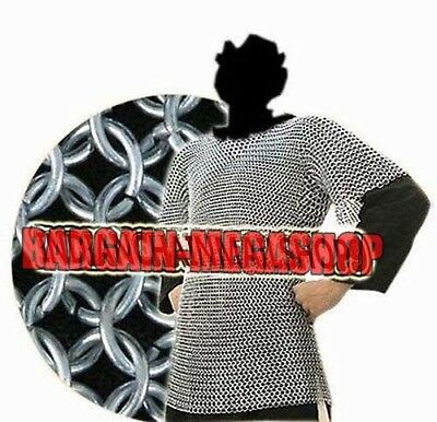 Aluminium Chainmail Shirt Butted Medieval Chain<Mail Haubergeon Armour Costumes
