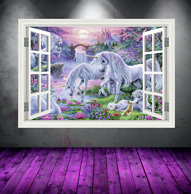 Window Full Color Unicorn wall art sticker transfer mural girls bedroom WSDW2