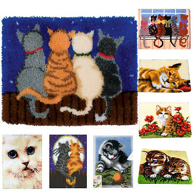 DIY Latch Hook Kit 14 models Needlecrafts Gift 20'' x 20'' Rug Cute Animals Cats