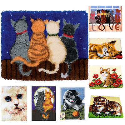 DIY Latch Hook Kit 9 models Needlecrafts Gift 20'' x 20'' Rug Cute Animals Cats