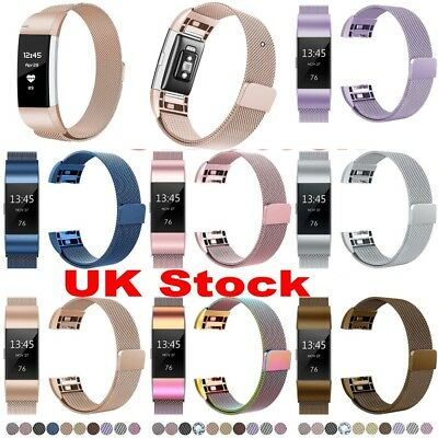 UK Magnetic Milanese Stainless Steel Wrist Watch Band Strap For Fitbit Charge 2