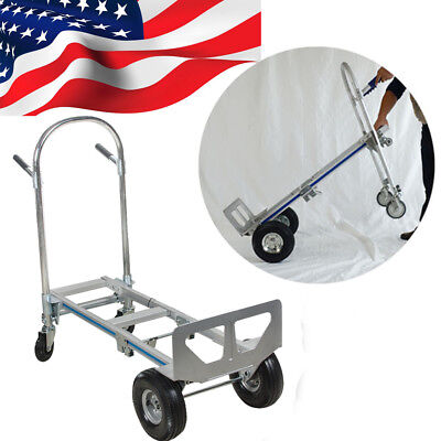 【US Fast】2in1 Aluminum Hand Truck Convertible Foldable Dolly 4 Wheel Cart 770LBS