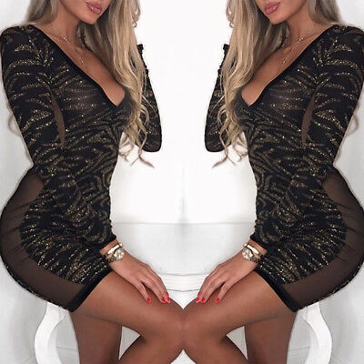 New Women Sexy Glittering Sequins DeepV Bodycon Mini Dress Long sleeve US Stock