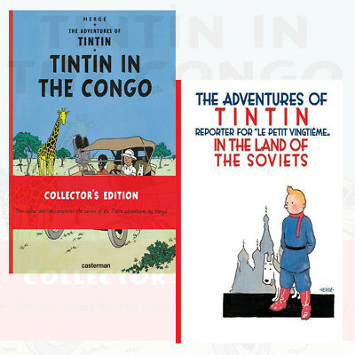 Hergé's Adventures of Tintin Collection 2 Books Set Land of the Soviets Congo