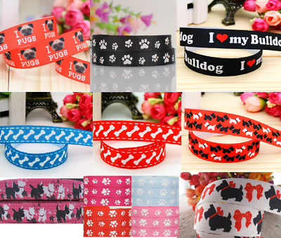 Dog Ribbon Puppy Various Widths Dog Collar Dummy Clips Westie Bulldog Pug 1meter