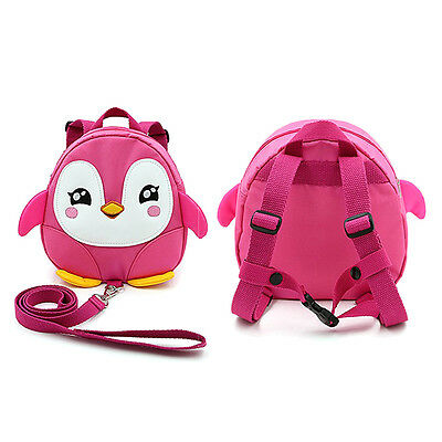 3Color Penguin Baby Toddler Walking Safety Harness Backpack With Leash Strap Bag