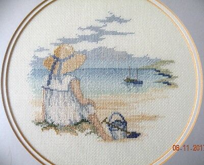"Framed Picture 2 Pcs Hand Made Cross Stitch ""Seaside Boy and Girl"" 27x27cm Each"