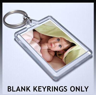 CLEAR ACRYLIC PLASTIC BLANK PHOTO KEYRINGS passport size 45 x 35 mm INSERT