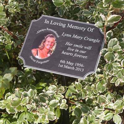 Outdoor Photo Memorial Plaque - Any Text / Photo, Pet Grave Sign, In Memory Sign