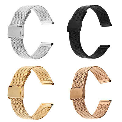 Adjustable Metal Milanese Watch Band 20mm Buckle Deployant Clasp Closure
