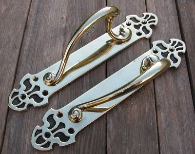 Old Large Reclaimed Pair of Brass Door Pull Handles Shop / Pub / Bar