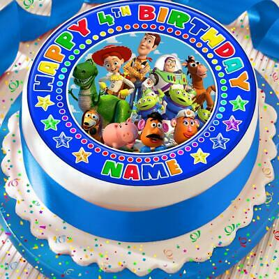 Toy Story Happy Birthday Personalised Blue 7.5 Inch Precut Edible Cake Topper